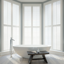 Shutters delivered in 4 weeks are perfect for bathrooms, kitchens and almost every other room.